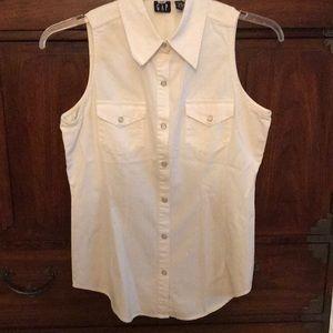 Gap Size M Women's White Sleeveless Cotton Top
